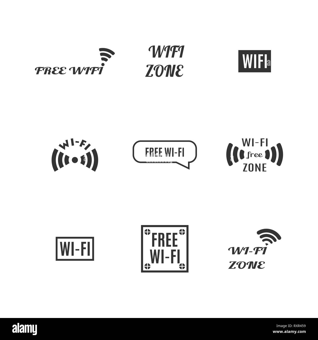 Set of various wireless icons isolated on a white background. Flat style, vector illustration. Stock Vector