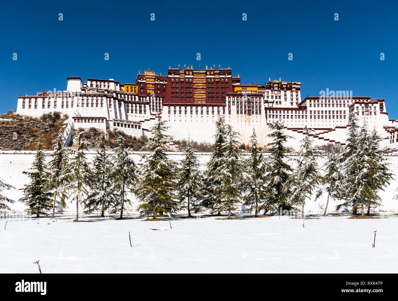 The famous Potala palace on a sunny winter day in Lhasa in Tibet, China. - Stock Image