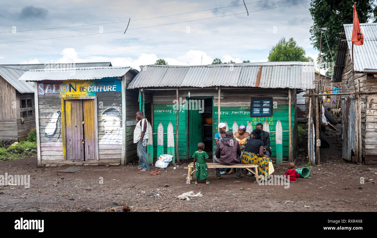 Slum houses in Goma, Democratic Republic of Congo - Stock Image