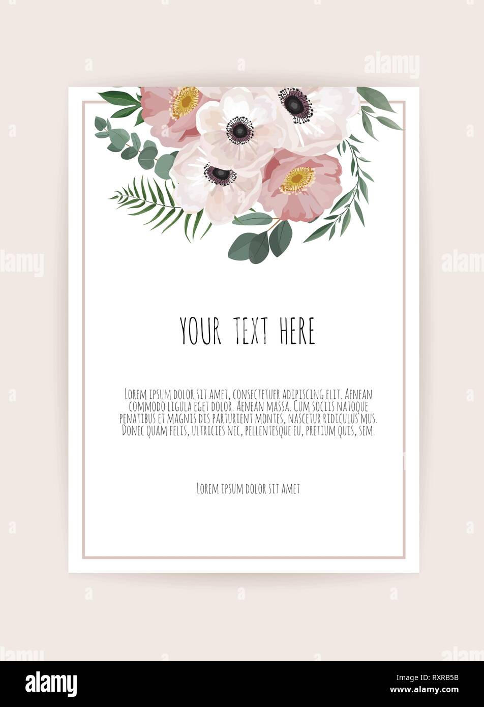 Vector floral design card. Greeting, postcard wedding invite template. Elegant frame with rose and anemone - Stock Vector