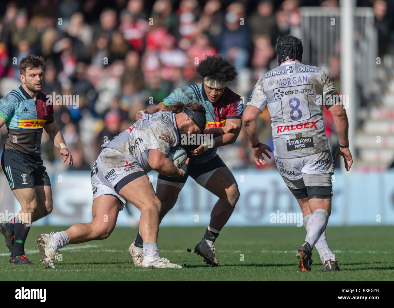 London, UK. 10th Mar 2019. Elia Elia of Harlequins is tackled during Gallagher Premiership match between Harlequins and Gloucester Rugby at Twickenham Stoop on Sunday, 10 March 2019. LONDON ENGLAND.  (Editorial use only, license required for commercial use. No use in betting, games or a single club/league/player publications.) Credit: Taka G Wu/Alamy News Stock Photo