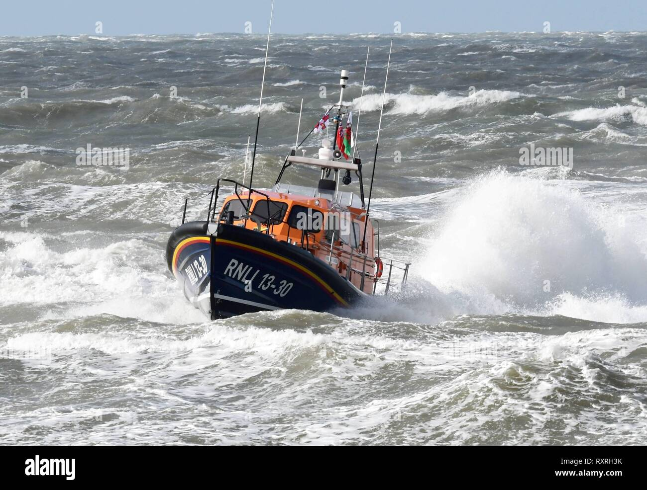 Sunday 10th March 2019 Barmouth Gwynedd  North Wales Barmouth  brand new RNLI Shannon Lifeboat the Ella Larsen arives at Barmouth. Stock Photo