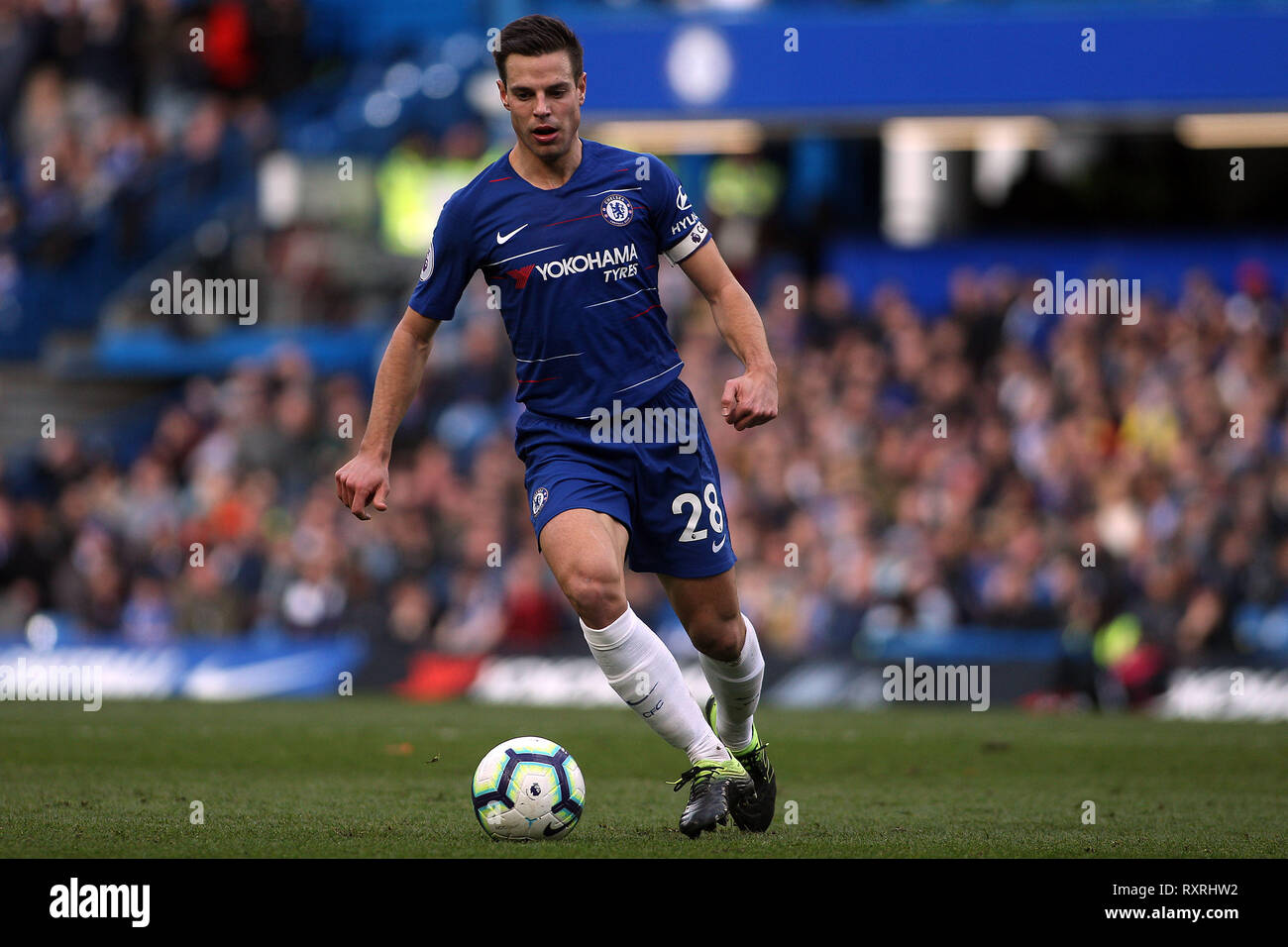 London, UK. 10th Mar 2019. Cesar Azpilicueta of Chelsea in action. Premier League match, Chelsea v Wolverhampton Wanderers at Stamford Bridge in London on Sunday 10th March 2019.  this image may only be used for Editorial purposes. Editorial use only, license required for commercial use. No use in betting, games or a single club/league/player publications. pic by Steffan Bowen/ Andrew Orchard sports photography/Alamy Live news Stock Photo