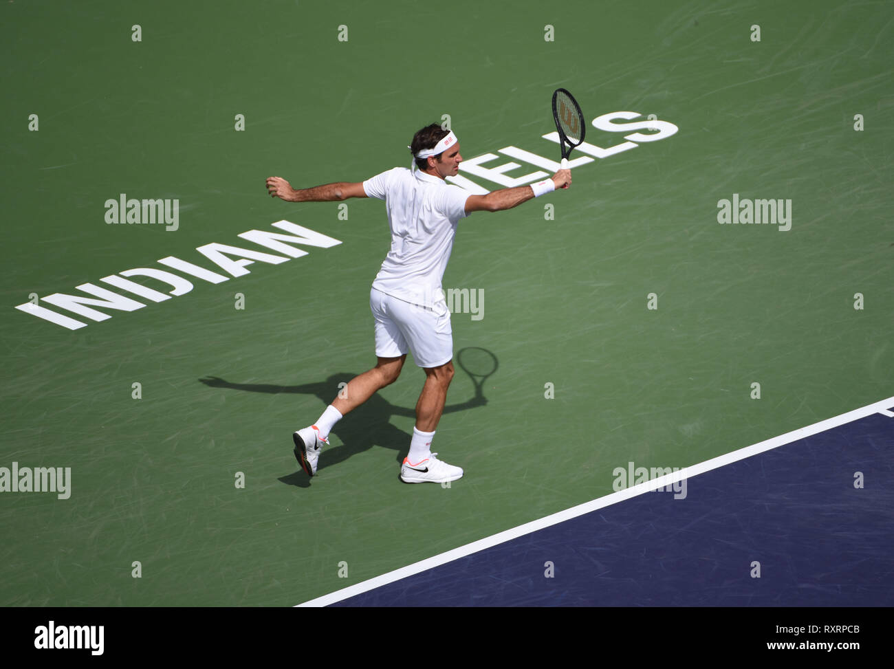 Indian Wells, California, USA. 10 March, 2019: Roger Federer in action against Peter Gojowczyk during the BNP Paribas Open at Indian Wells Tennis Garden in Indian Wells, California John Green/CSM Credit: Cal Sport Media/Alamy Live News - Stock Image