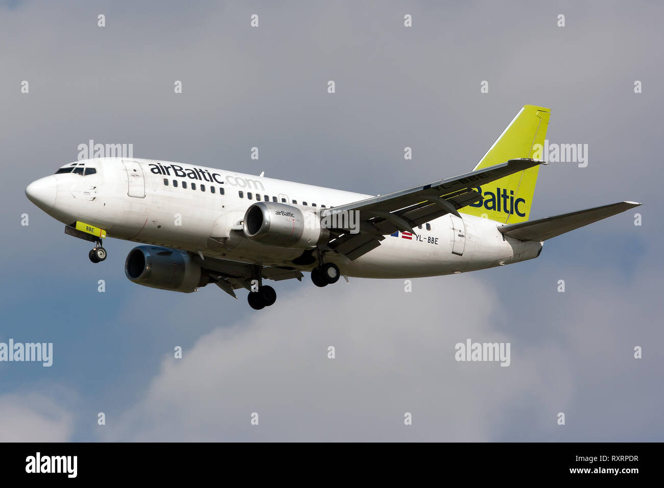 Rome, Italy. 24th Apr, 2014. An Air Baltic Boeing 737-500 seen landing at Rome Fiumicino airport. Credit: Fabrizio Gandolfo/SOPA Images/ZUMA Wire/Alamy Live News - Stock Image