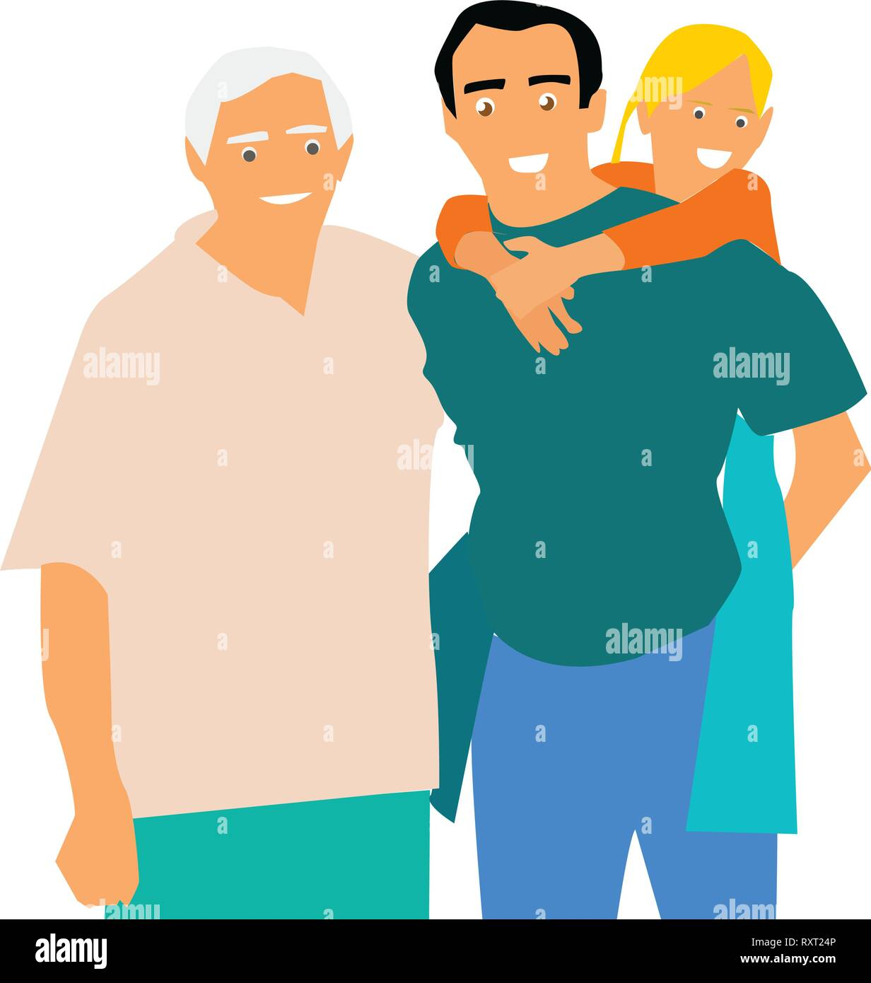 Happy Family. Grandfather, father and daughter. Vector. - Stock Vector