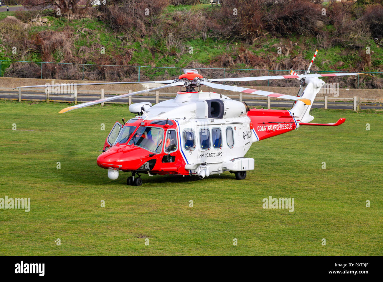 Seaford Sussex UK: 13th Feb 2019: HM Coastguard helicopter was