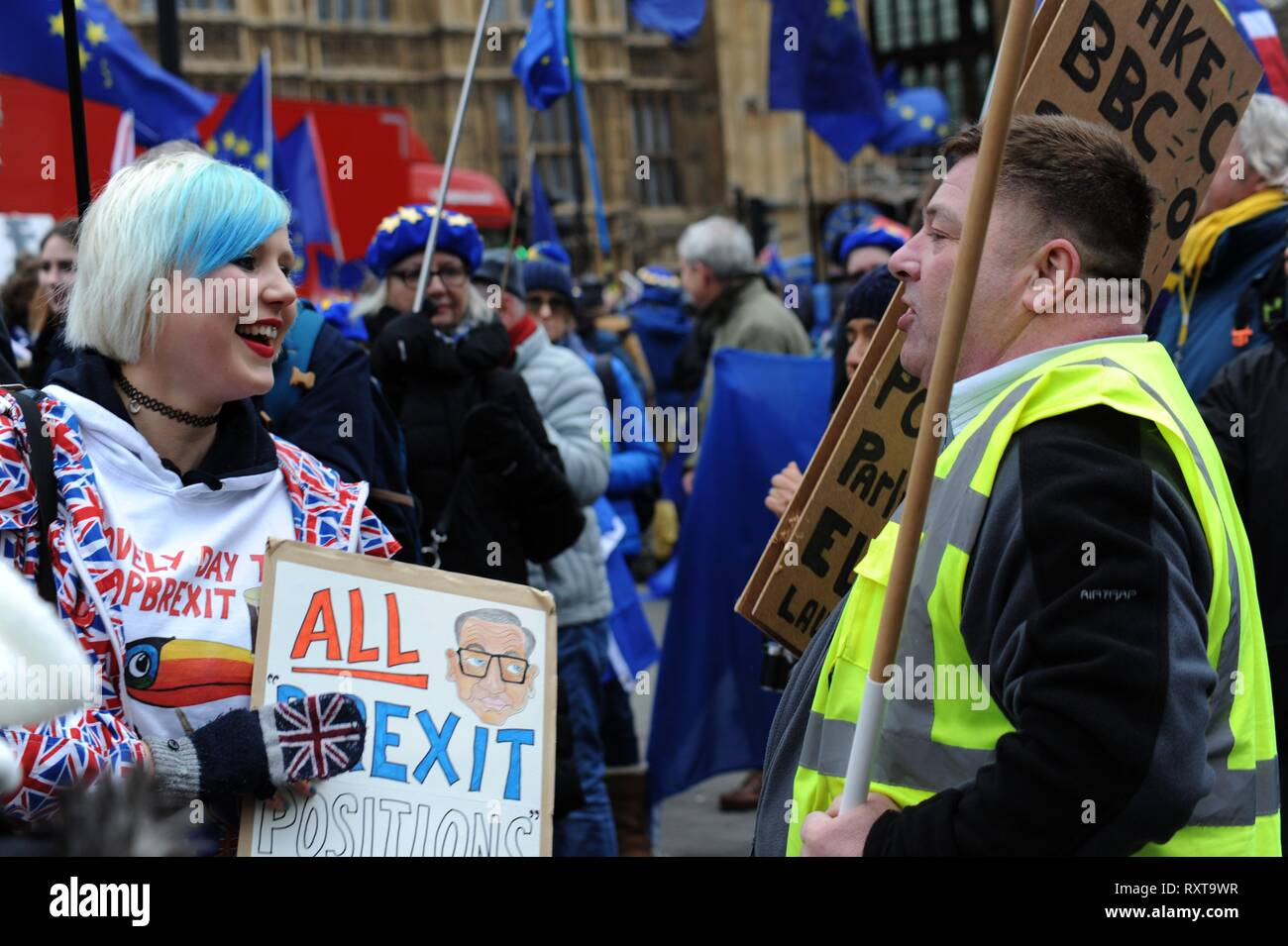 EU Remain campaigner Madeleina Kay aka EUsupergirl confronts a pro Brexit yellow vest protester in Westminster outside Parliament 15th January 2019 - Stock Image