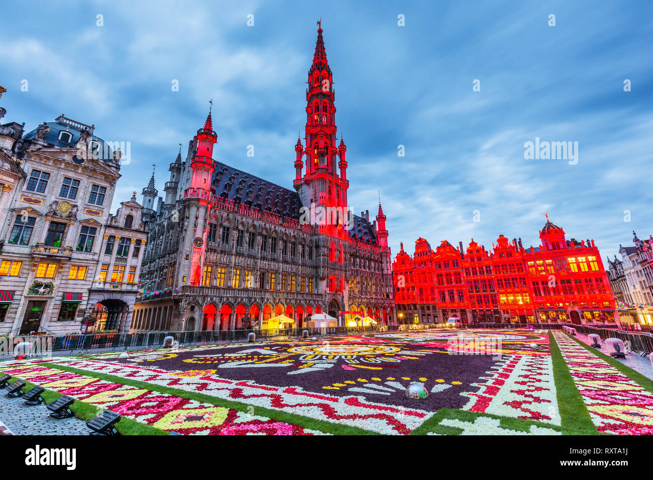 Brussels, Belgium. Grand Place during 2018 Flower Carpet festival. This year theme was Mexico. - Stock Image