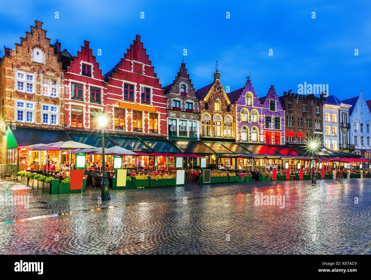 Bruges, Belgium. Grote Markt square at night. - Stock Image