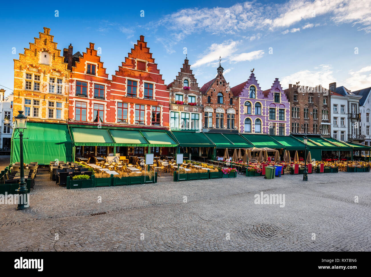 Bruges, Belgium. Grote Markt square at sunrise. Stock Photo