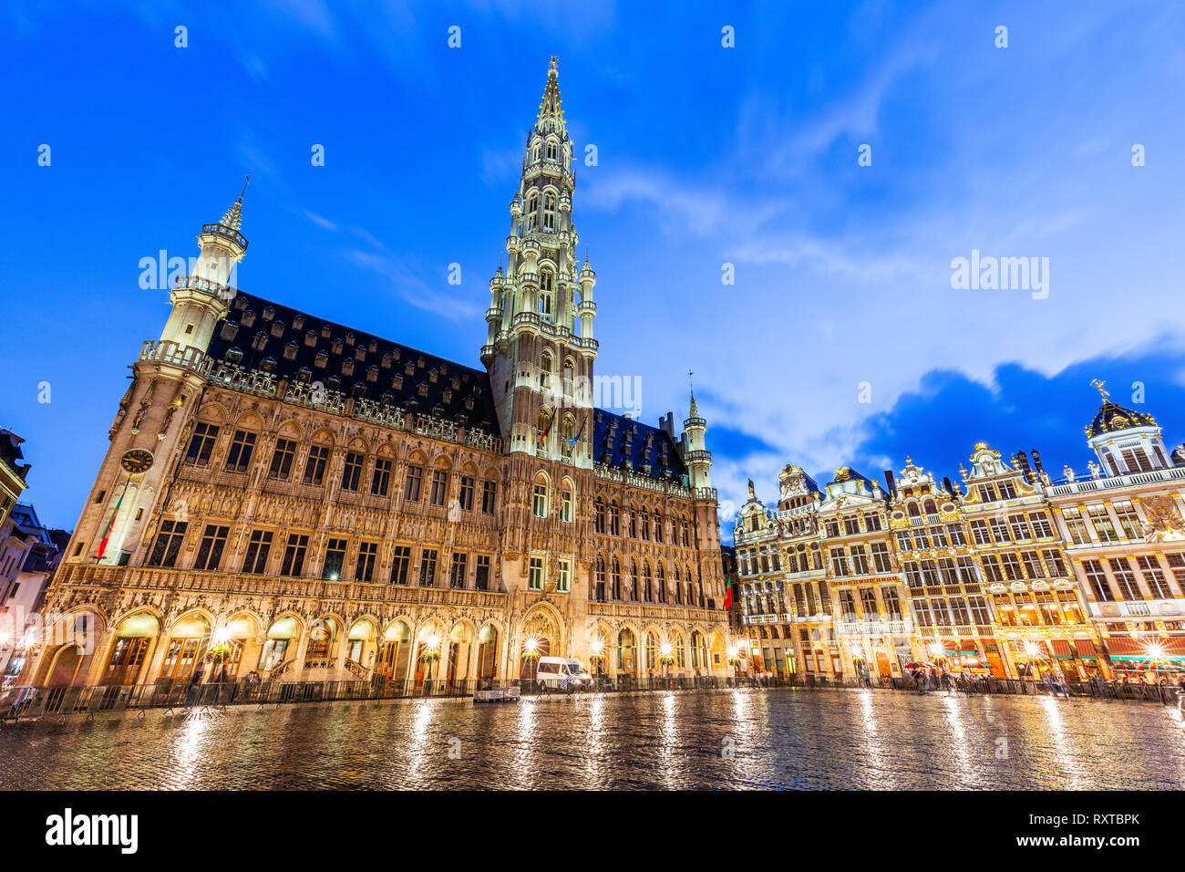 Brussels, Belgium. Grand Place. Market square surrounded by guild halls. - Stock Image