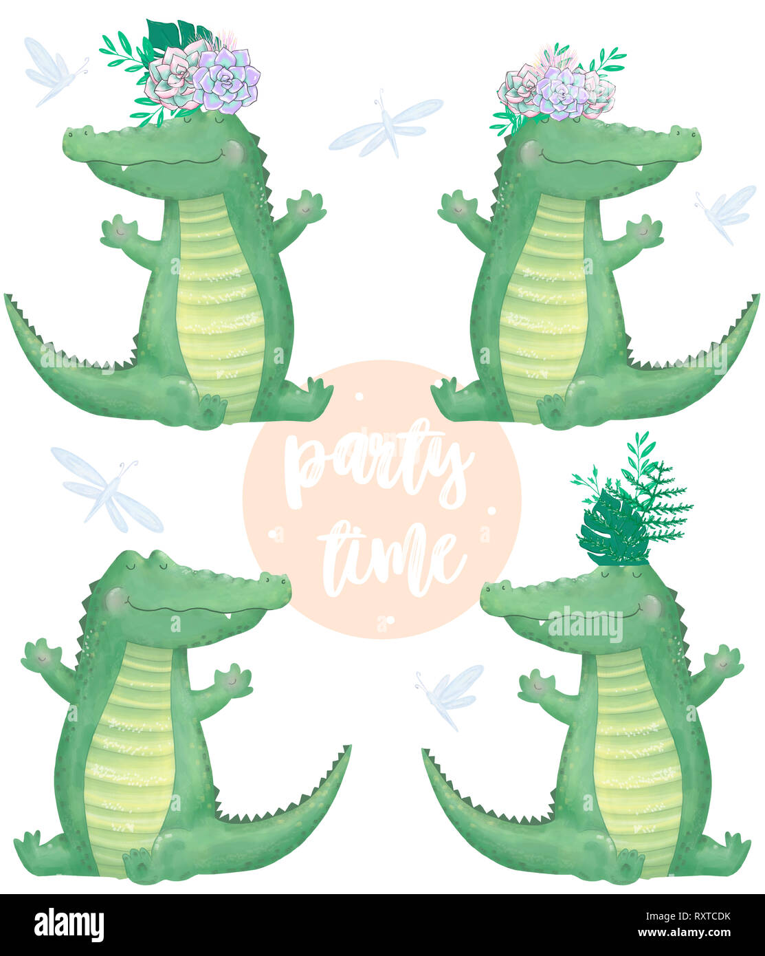 Watercolor Crocodile Digital Clip Art Cute Animal And Flowers Party