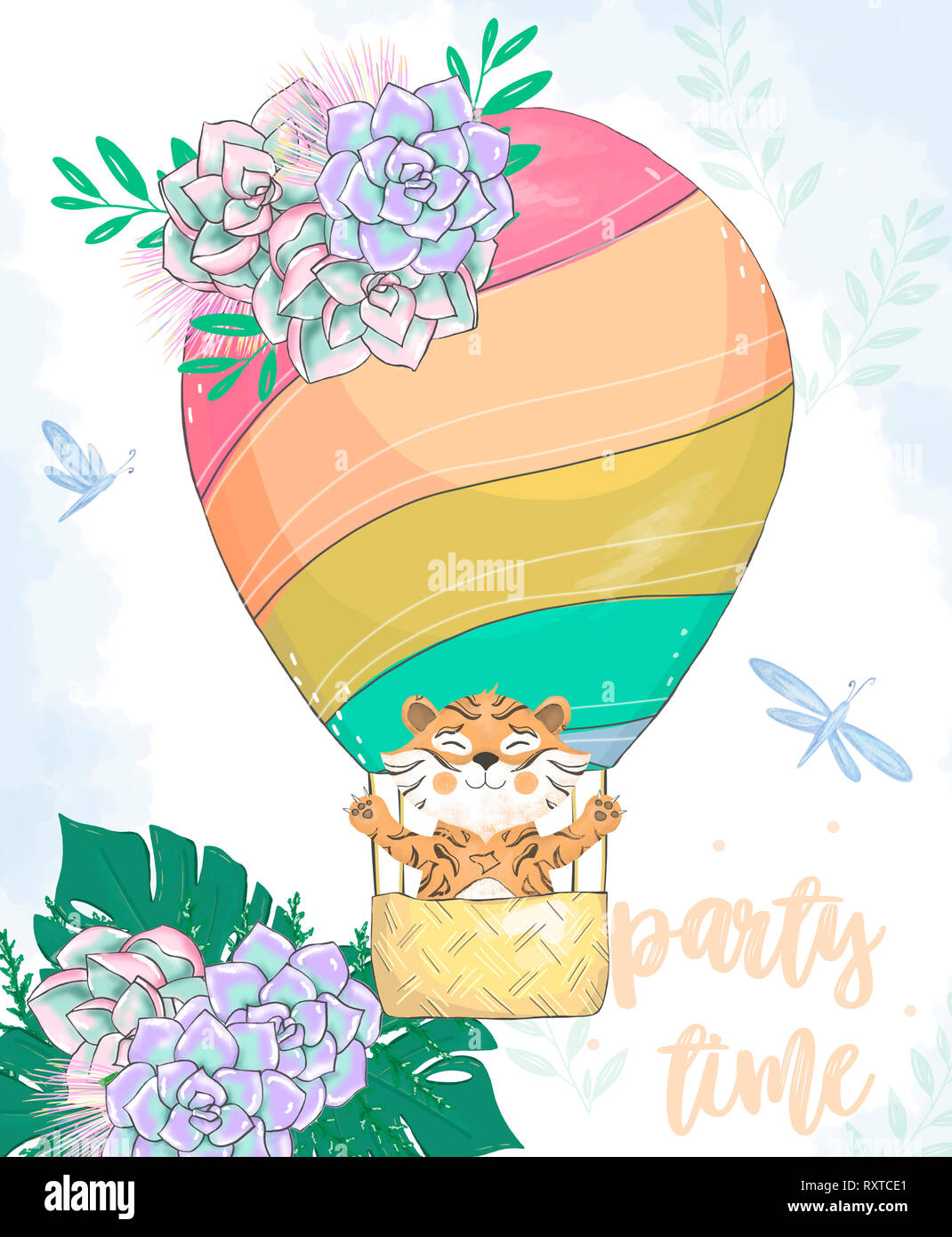 Watercolor Tiger In Basket Balloon Digital Clip Art Cute Animal And Flowers On Head Party Time Text Greeting Celebration Birthday Card Funny African