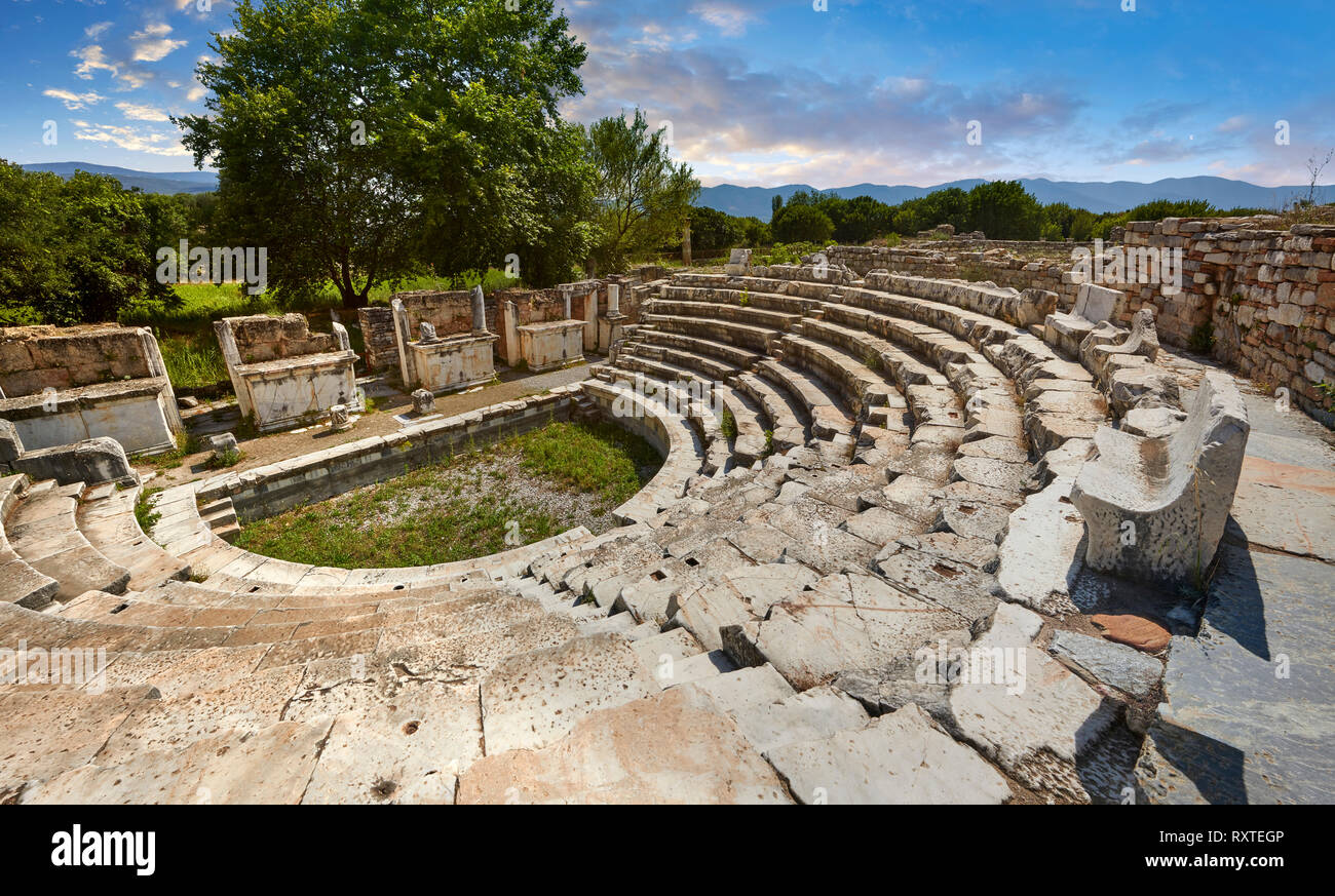 Odeon (Concert-hall) seating  around 1700 people. It was used also as the Bouleuterion for the meetings of the Senate and remained in this form until  - Stock Image