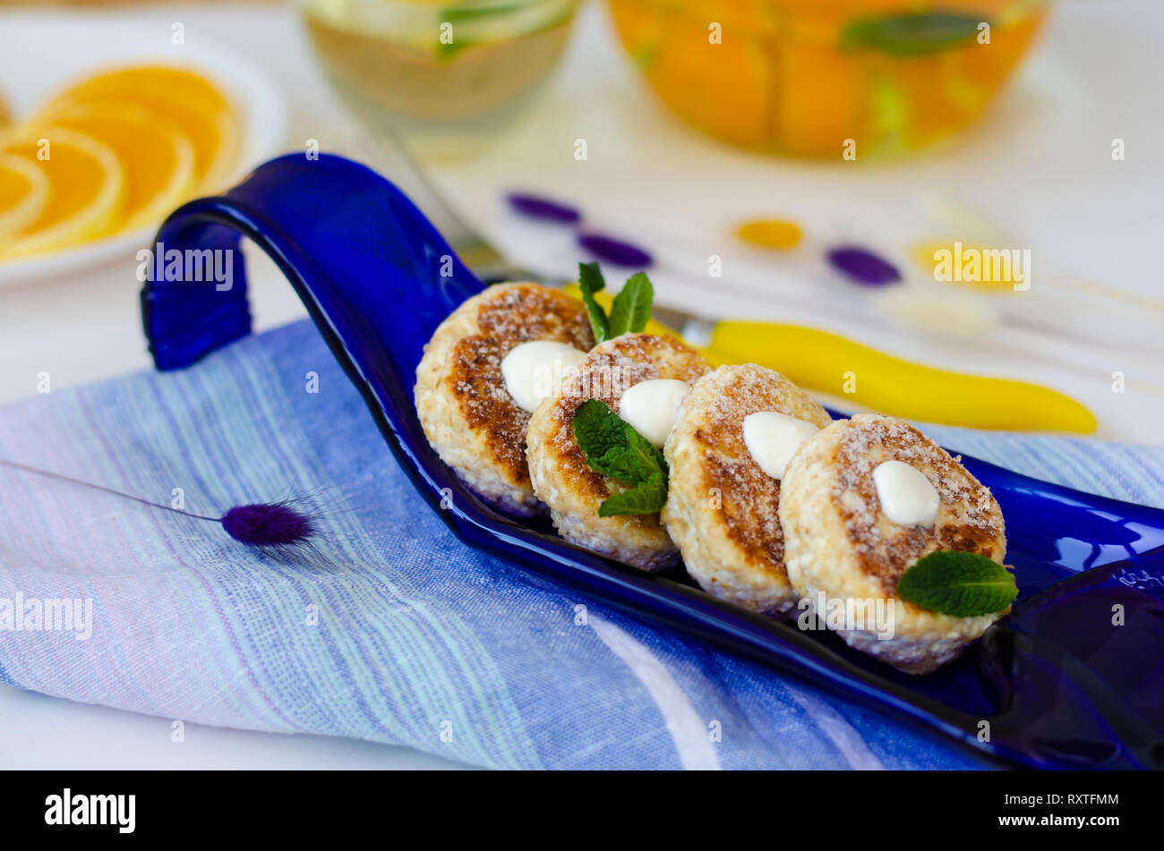 Healthy Breakfast Table With Cheesecakes From Cottage Cheese With