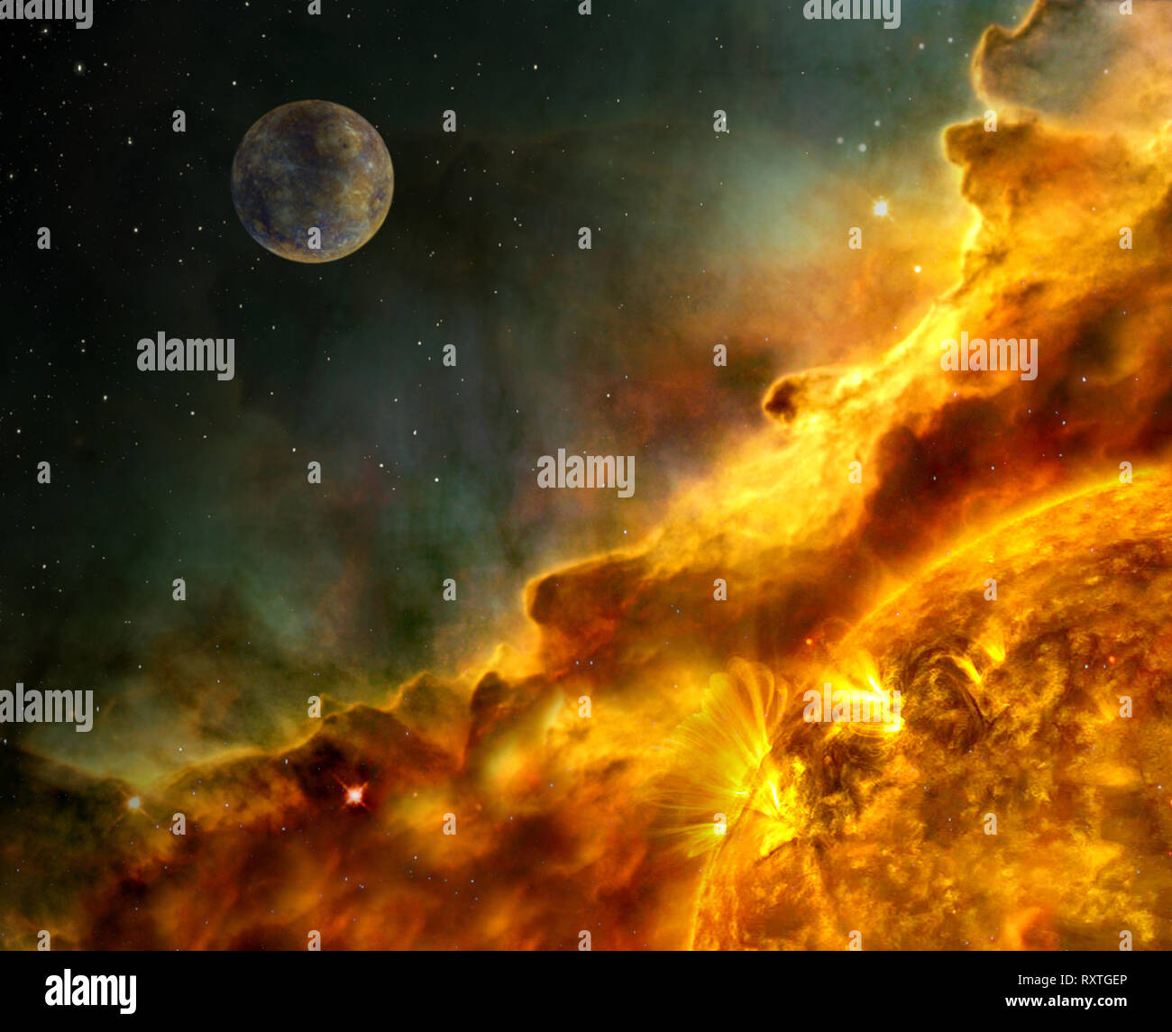 solar flare coronal mass ejection Solar Dynamics Elements of this image furnished by NASA - Stock Image