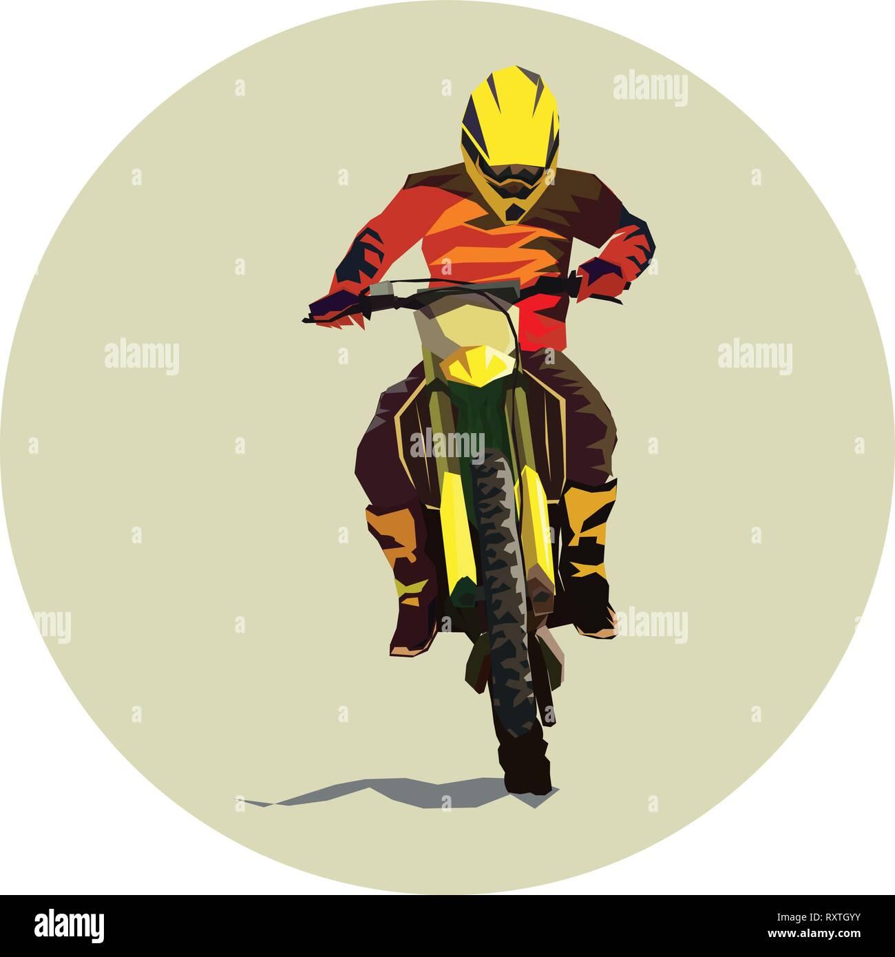Racer and sport motocross bike vector icon Stock Vector