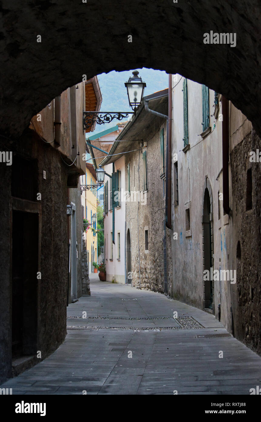 Cityscape, an old alley in Sulzano on the shore of Lake Iseo in Italy Stock Photo