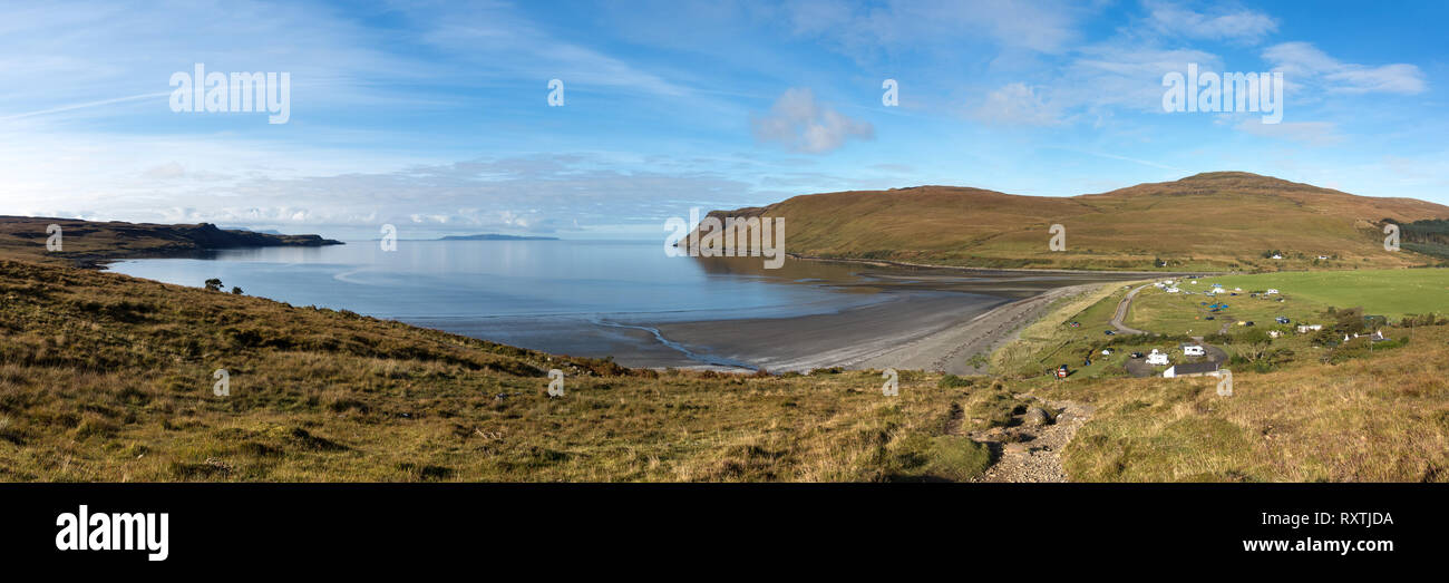 Panoramic image of the bay of Loch Brittle, beach and Glenbrittle campsite, Glenbrittle, Isle of Skye, Scotland, UK - Stock Image