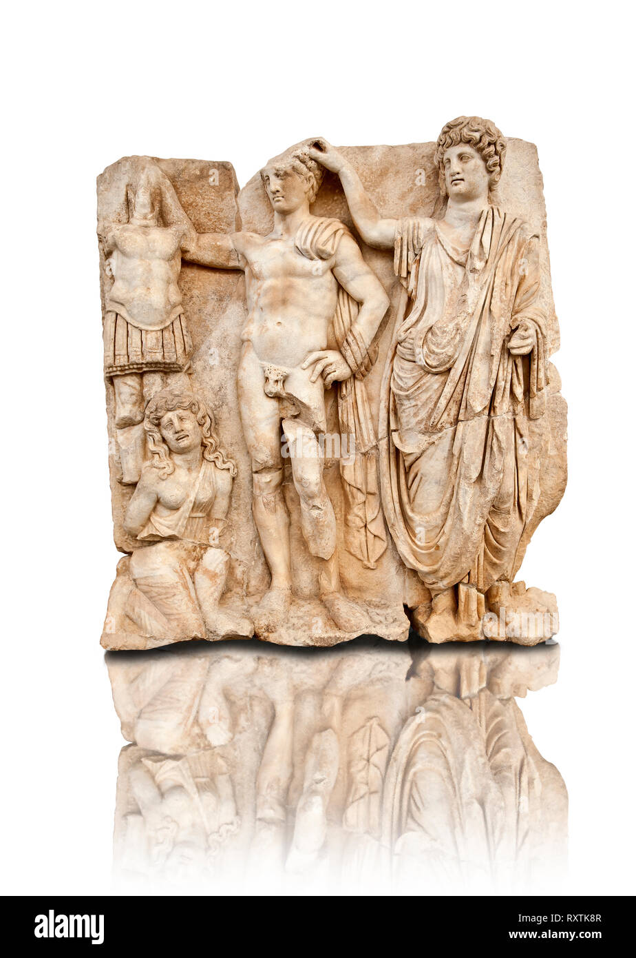 Temple freize of a Roman Emperor being crowned accompanied by  a barbarian captive. Aphrodisias Archaeological museum, Turkey - Stock Image