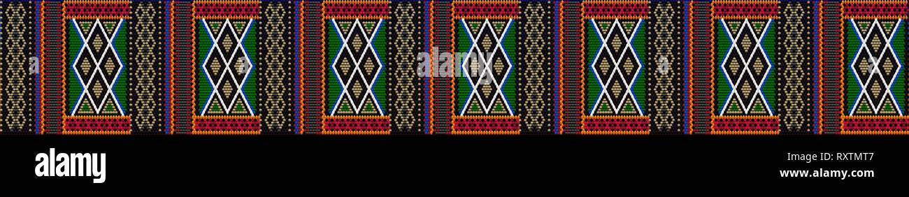 Pattern on Bedouin fabric Sadu. Colorful, bright, eye-catching, holding a look, inspiring. - Stock Vector