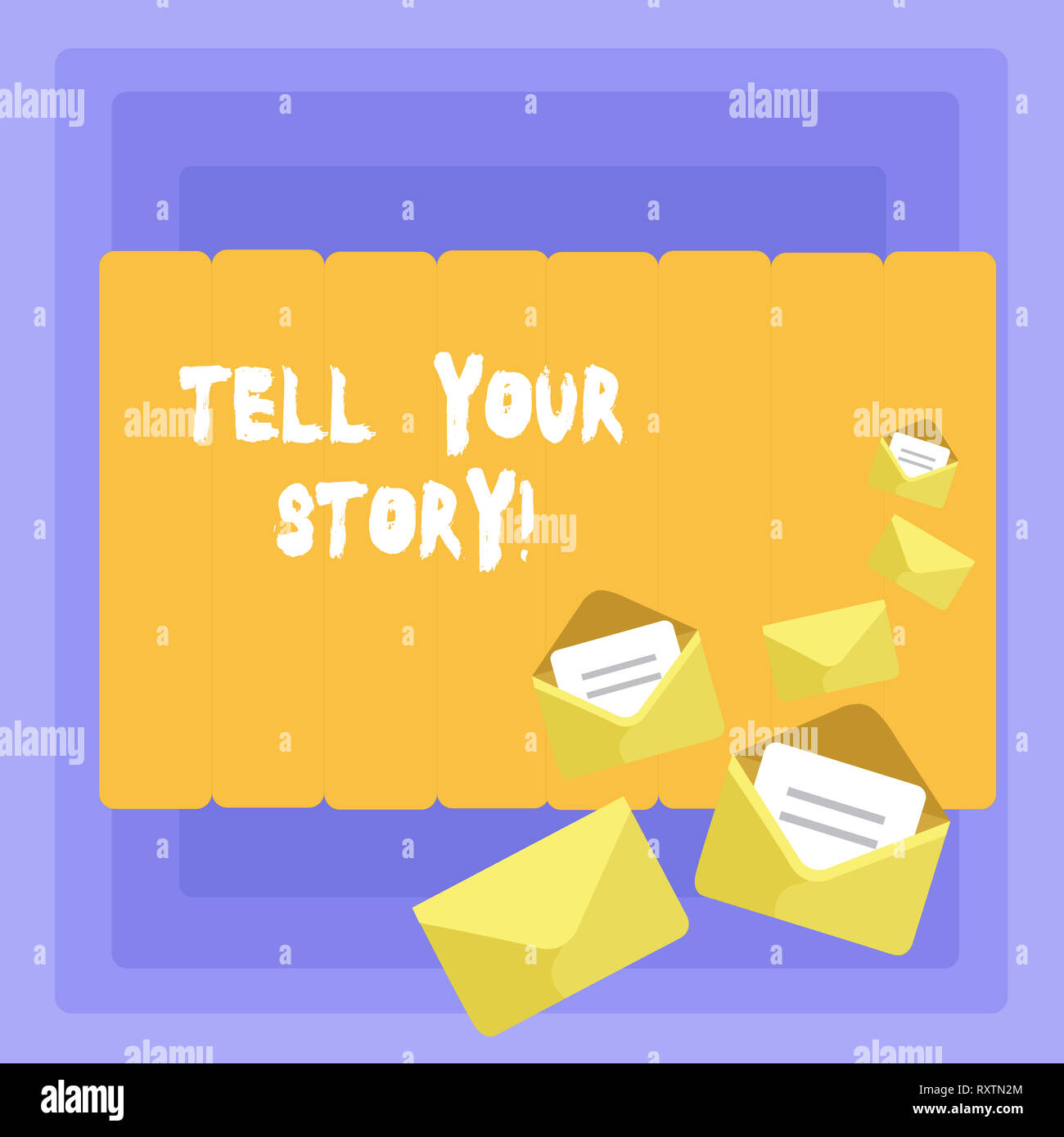 Conceptual hand writing showing Tell Your Story. Concept meaning expressing your feelings Narrating writing your biography - Stock Image