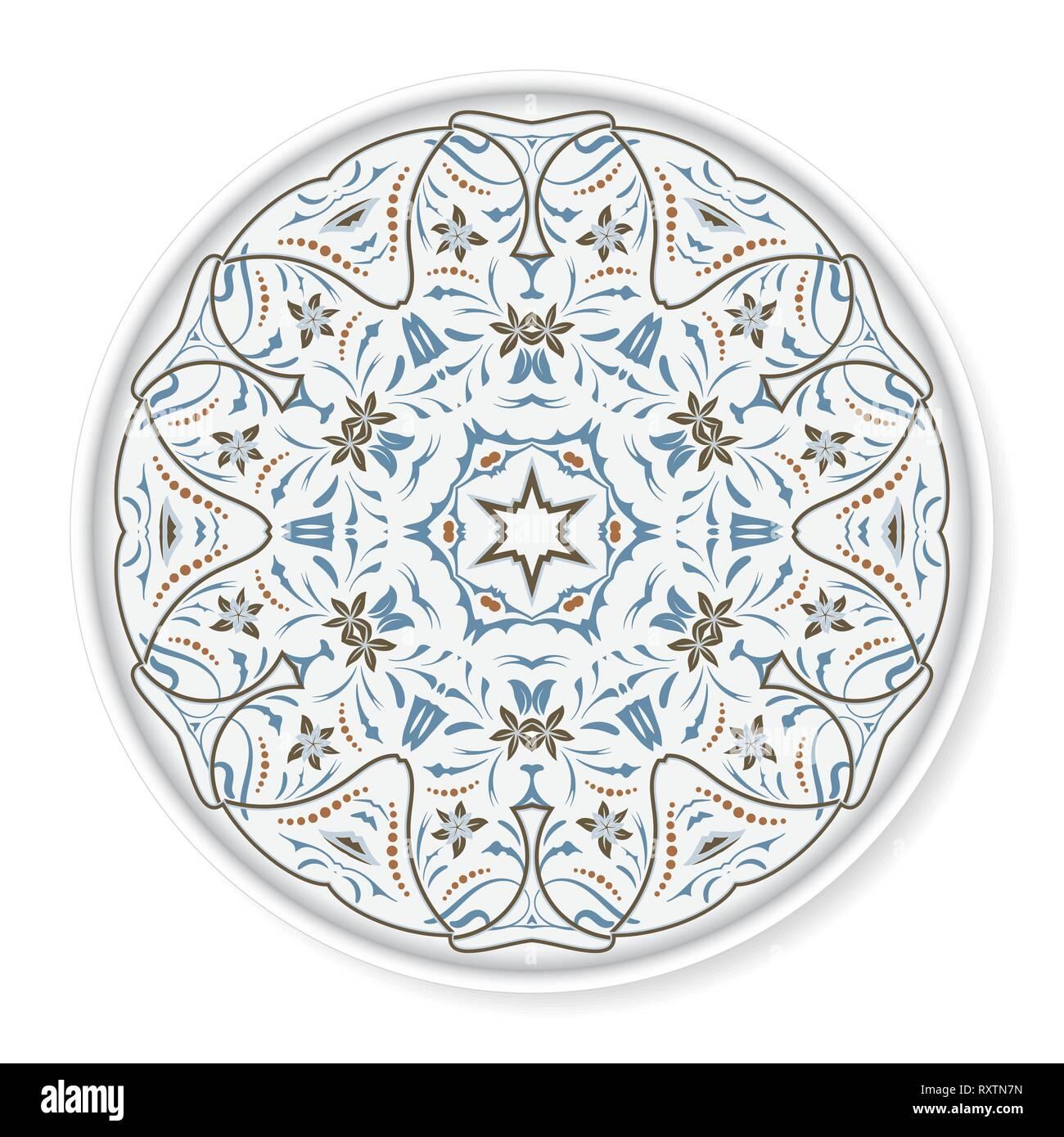 Decorative plate with colored arabic ornament. Home decor ...