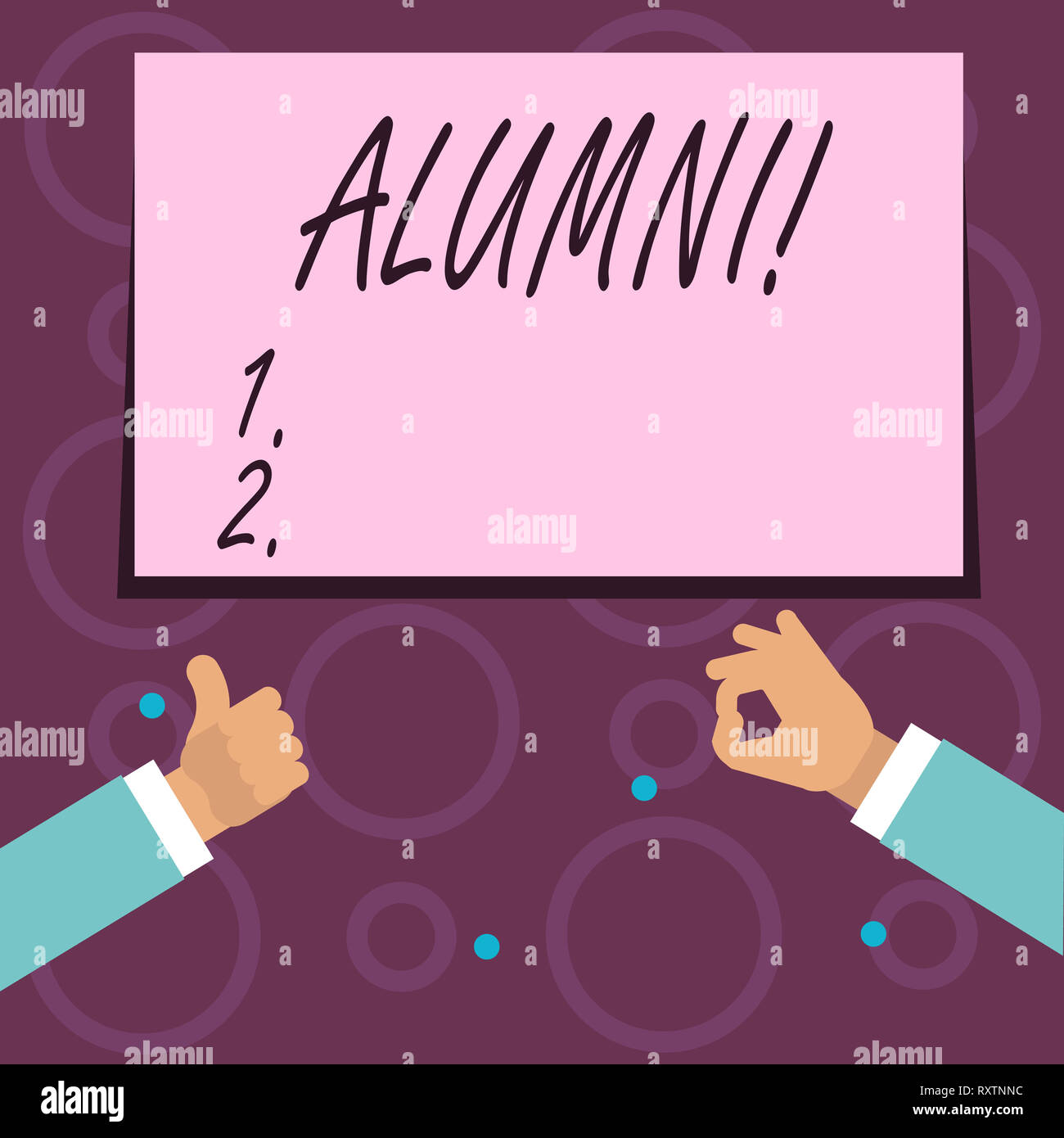Conceptual hand writing showing Alumni. Concept meaning Alum Old graduate Postgraduate Gathering College Academy Celebration - Stock Image