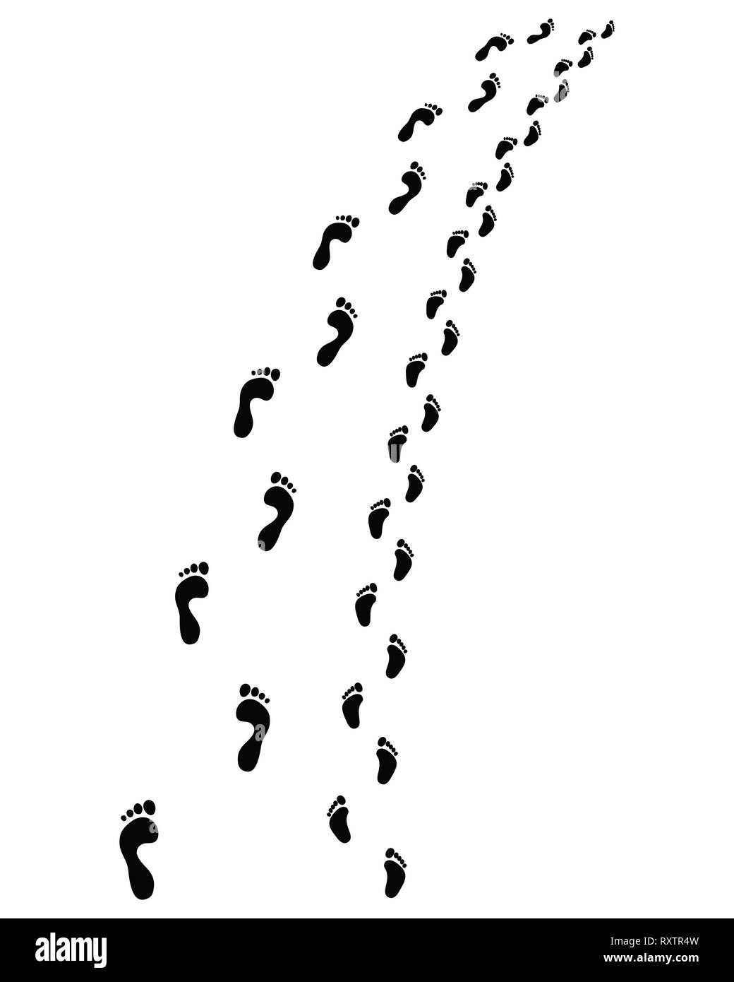 Trail of human and baby bare feet, turn left or right - Stock Image