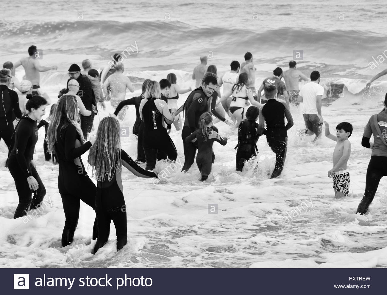 Christchurch Lifeguards New Year's Day Dip - Stock Image