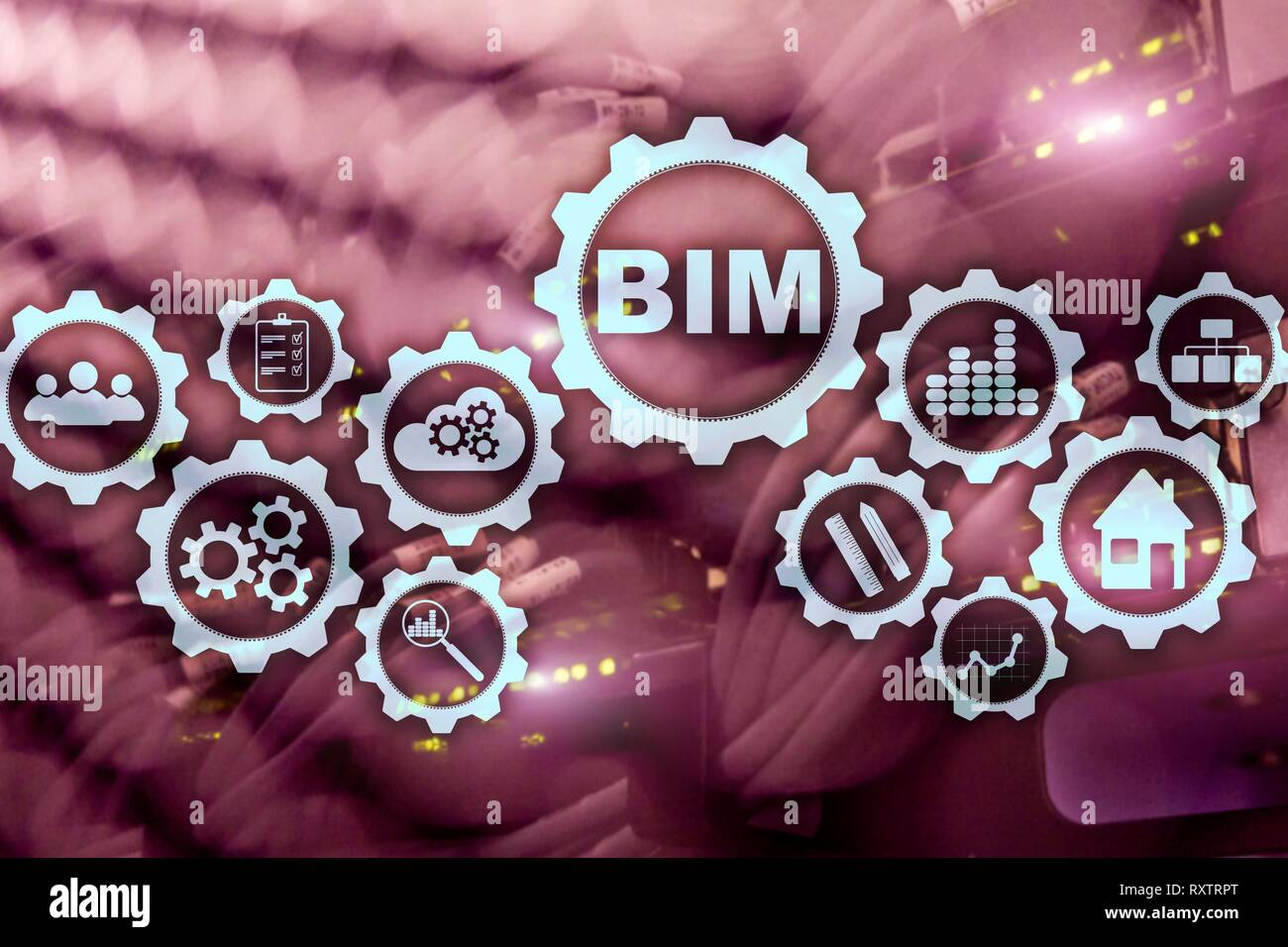 Building Information Modeling. BIM on the virtual screen with a server data center background - Stock Image