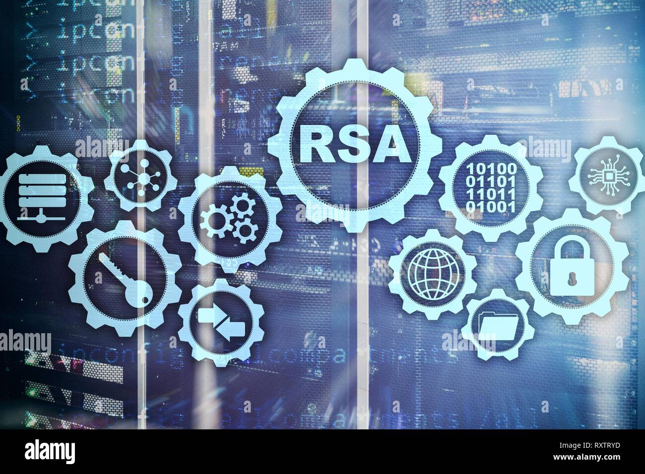 RSA. Rivest Shamir Adleman cryptosystem. Cryptography and Network Security. - Stock Image