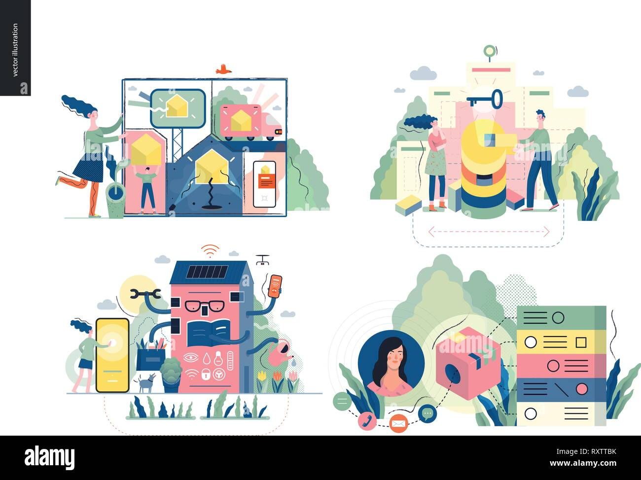 Technology 1 set - modern flat vector concept digital illustration- Marketing Promotion, Solution, Intelligent building, CRM Customer Relationship Man - Stock Image