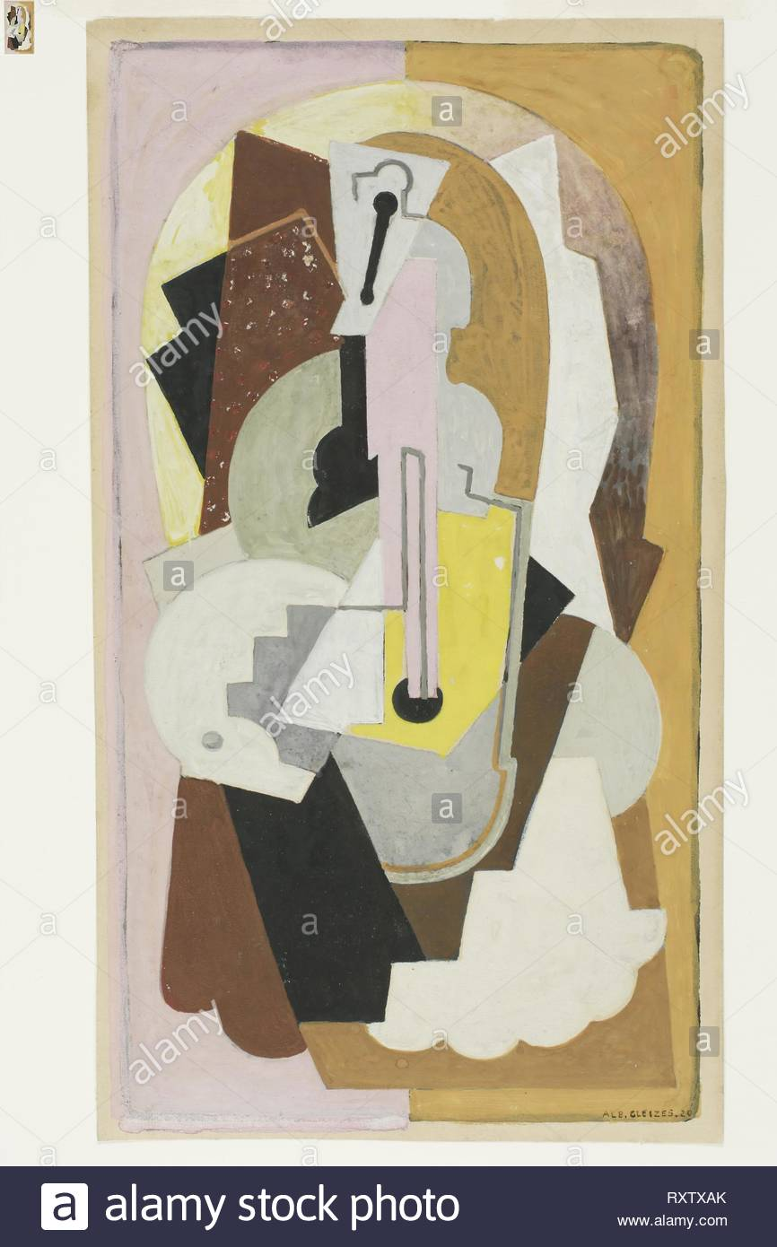 Composition. Albert Gleizes; French, 1881-1953. Date: 1920. Dimensions: 278 × 157 mm. Gouache, over traces of graphite on cream wove paper. Origin: France. Museum: The Chicago Art Institute. - Stock Image