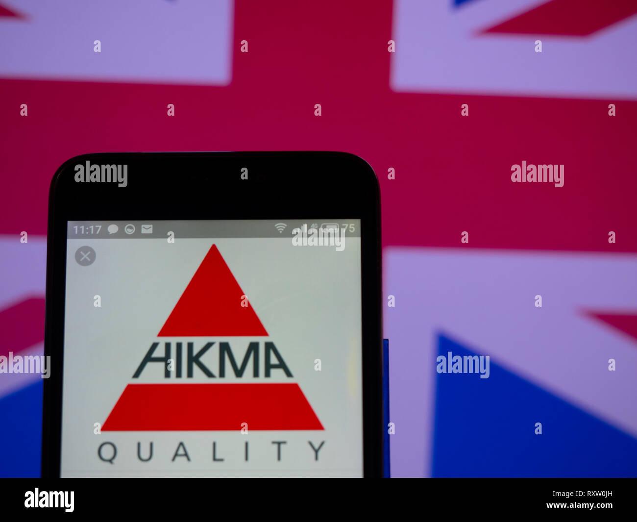 Hikma Pharmaceuticals company logo seen displayed on smart