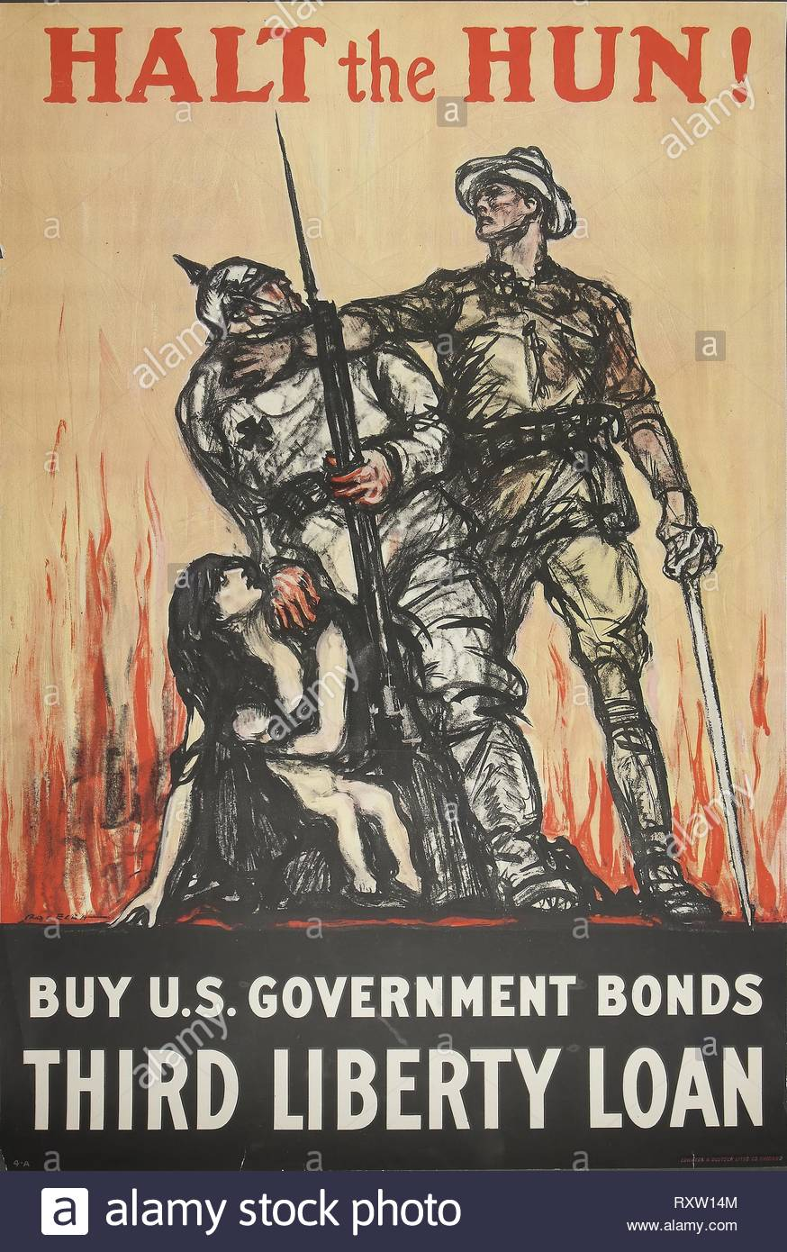 Halt the Hun! Buy U.S. Government Bonds Third Liberty Loan. Henry Patrick Raleigh (American, 1880-1945); printed by Edwards & Deutsch Litho. Company. Date: 1918. Dimensions: 748 x 506 mm. Color lithograph on cream wove paper. Origin: United States. Museum: The Chicago Art Institute. - Stock Image