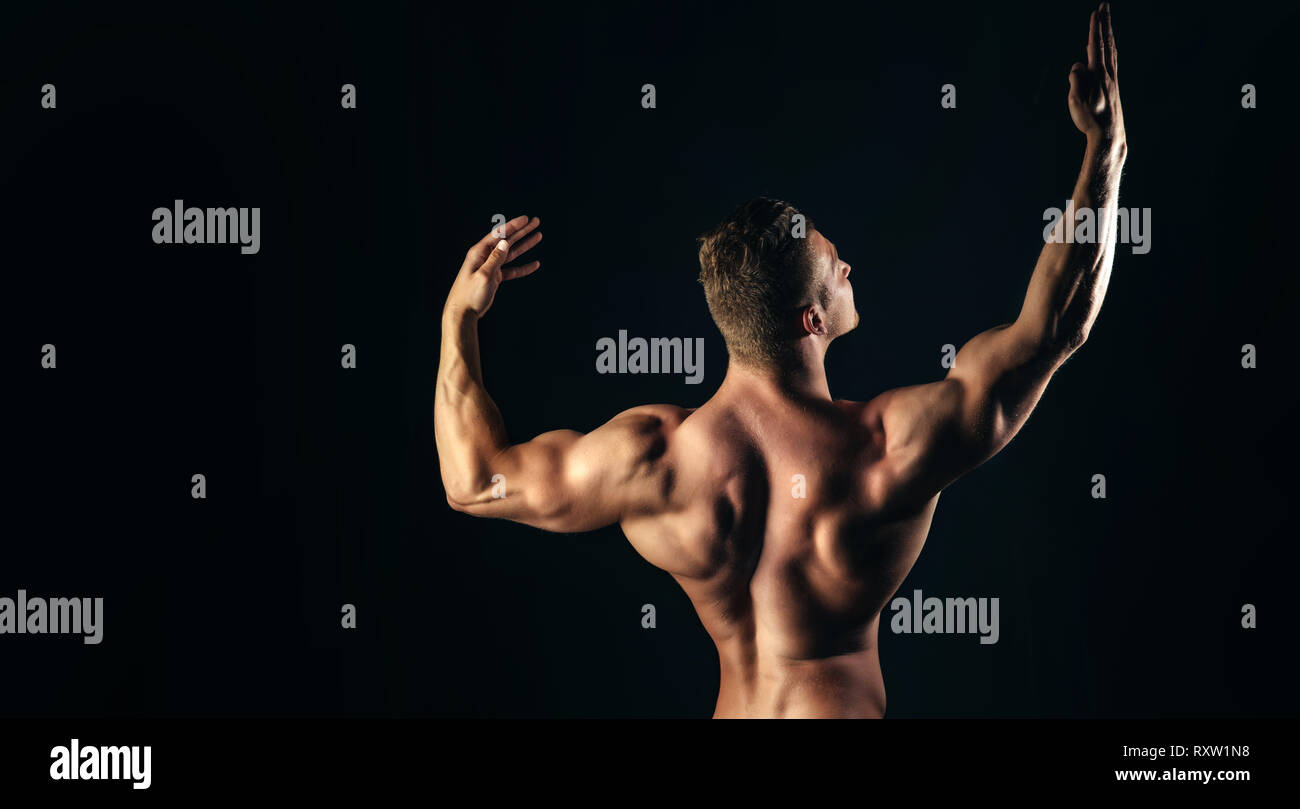 Bodybuilder man with muscular torso back and hands - Stock Image