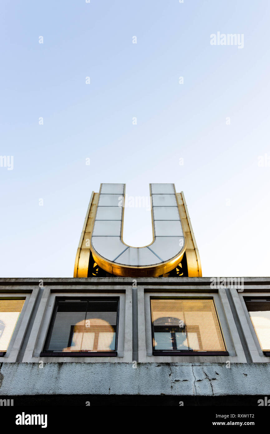 the u from dortmund on a sunny day with a clear sky - Stock Image