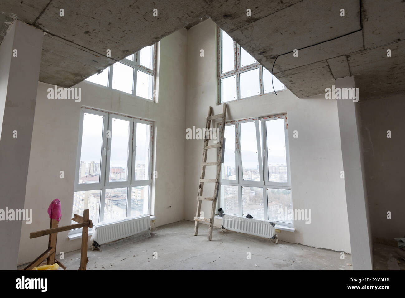 The interior of the first floor in a two-story apartment in
