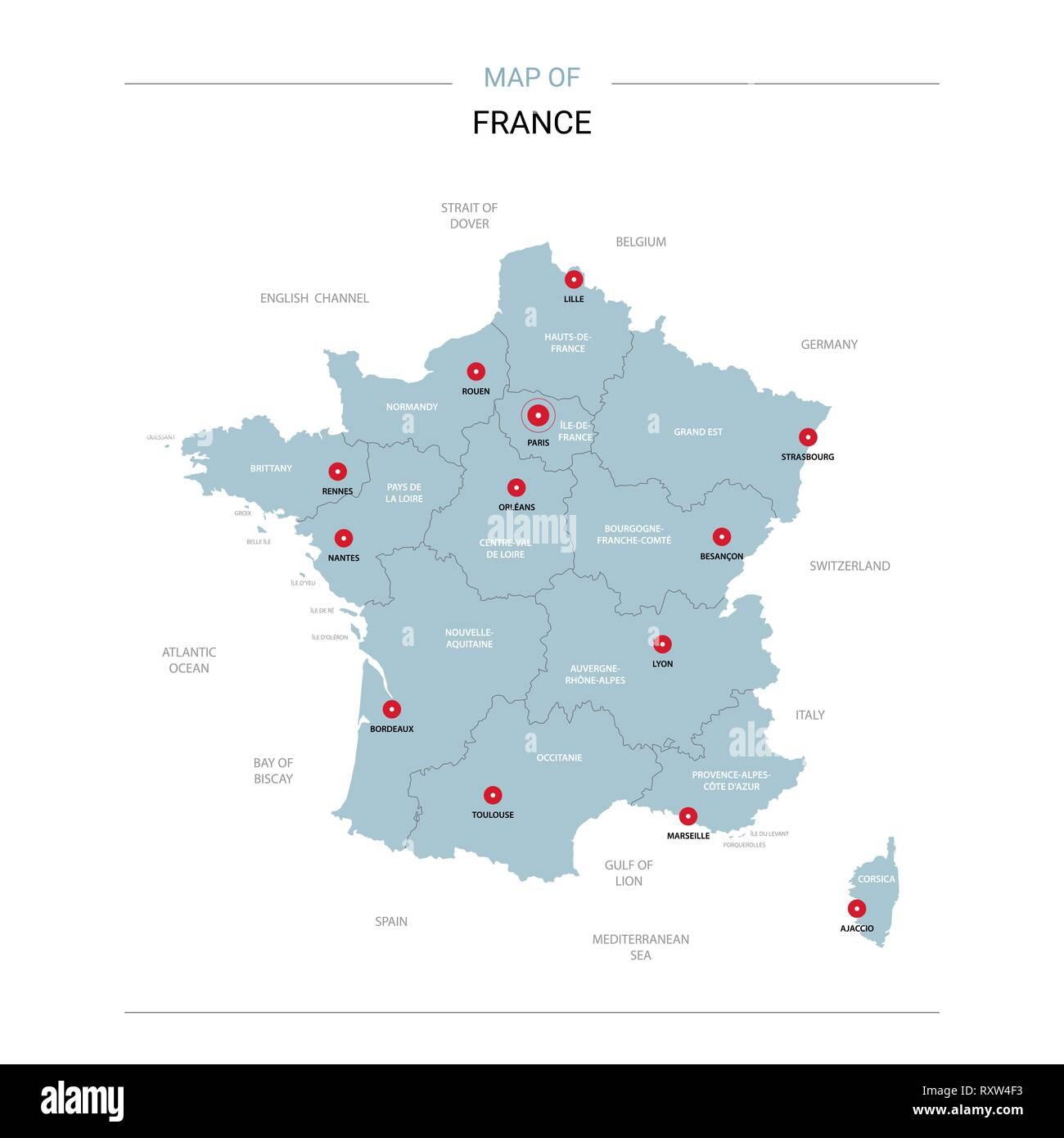 Map Of France Regions And Cities.France Vector Map Editable Template With Regions Cities Red Pins