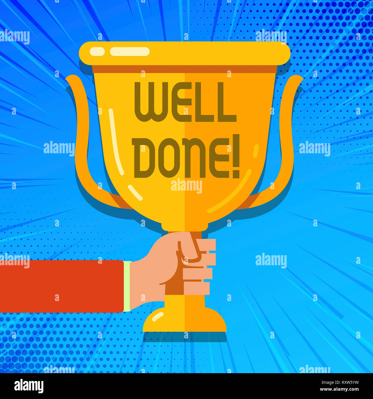 Writing note showing Well Done. Business concept for Good Job Great Results  Positive Evaluation Stock Photo - Alamy