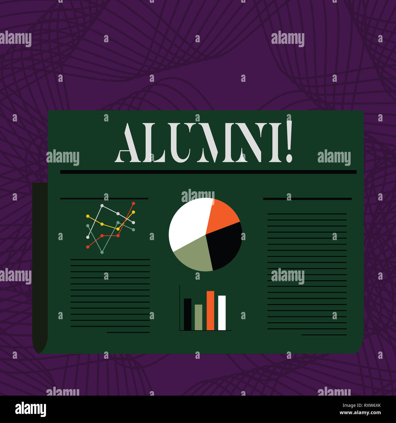 Word writing text Alumni. Business photo showcasing Alum Old graduate Postgraduate Gathering College Academy Celebration - Stock Image