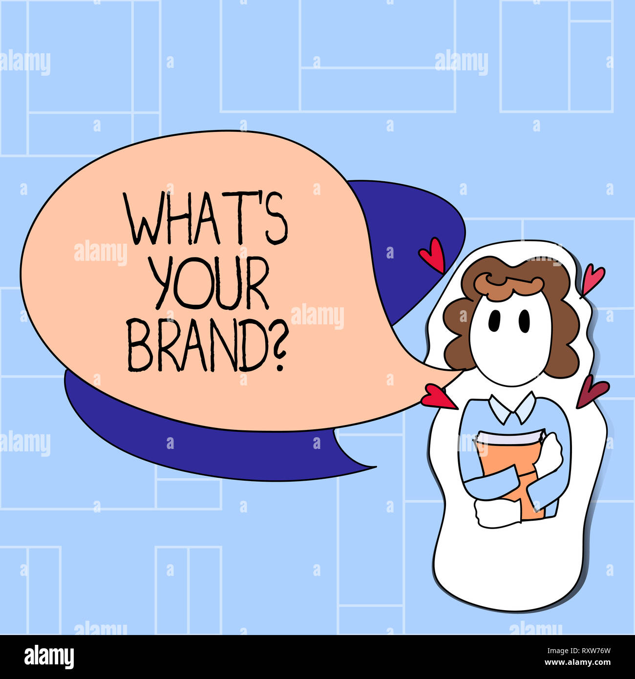 Handwriting text What S Your Brandquestion. Conceptual photo asking about slogan or logo Advertising Marketing - Stock Image