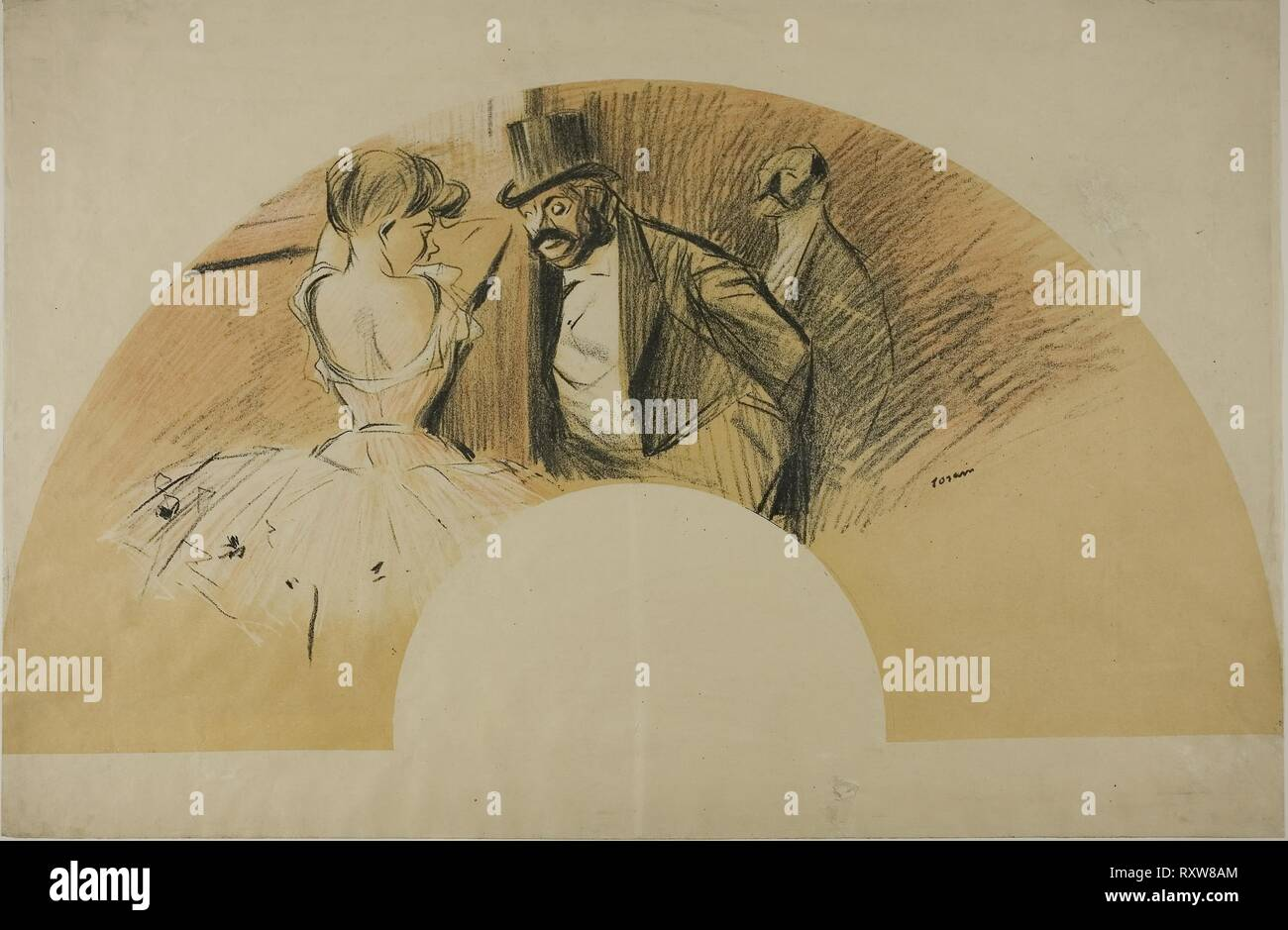 Fan for the Gavarni Ball. Jean Louis Forain; French, 1852-1931. Date: 1903. Dimensions: 260 × 493 mm (image); 324 × 493 mm (sheet). Color lithograph in black, white, orange, and red on cream wove paper. Origin: France. Museum: The Chicago Art Institute. - Stock Image