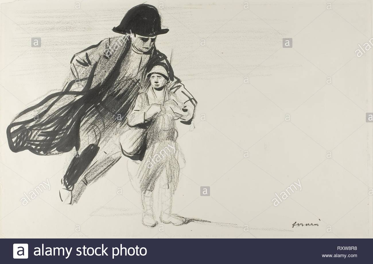 Le Poilu. Jean Louis Forain; French, 1852-1931. Date: 1914-1918. Dimensions: 324 × 502 mm. Black crayon and brush and black ink, on cream wove paper. Origin: France. Museum: The Chicago Art Institute. - Stock Image