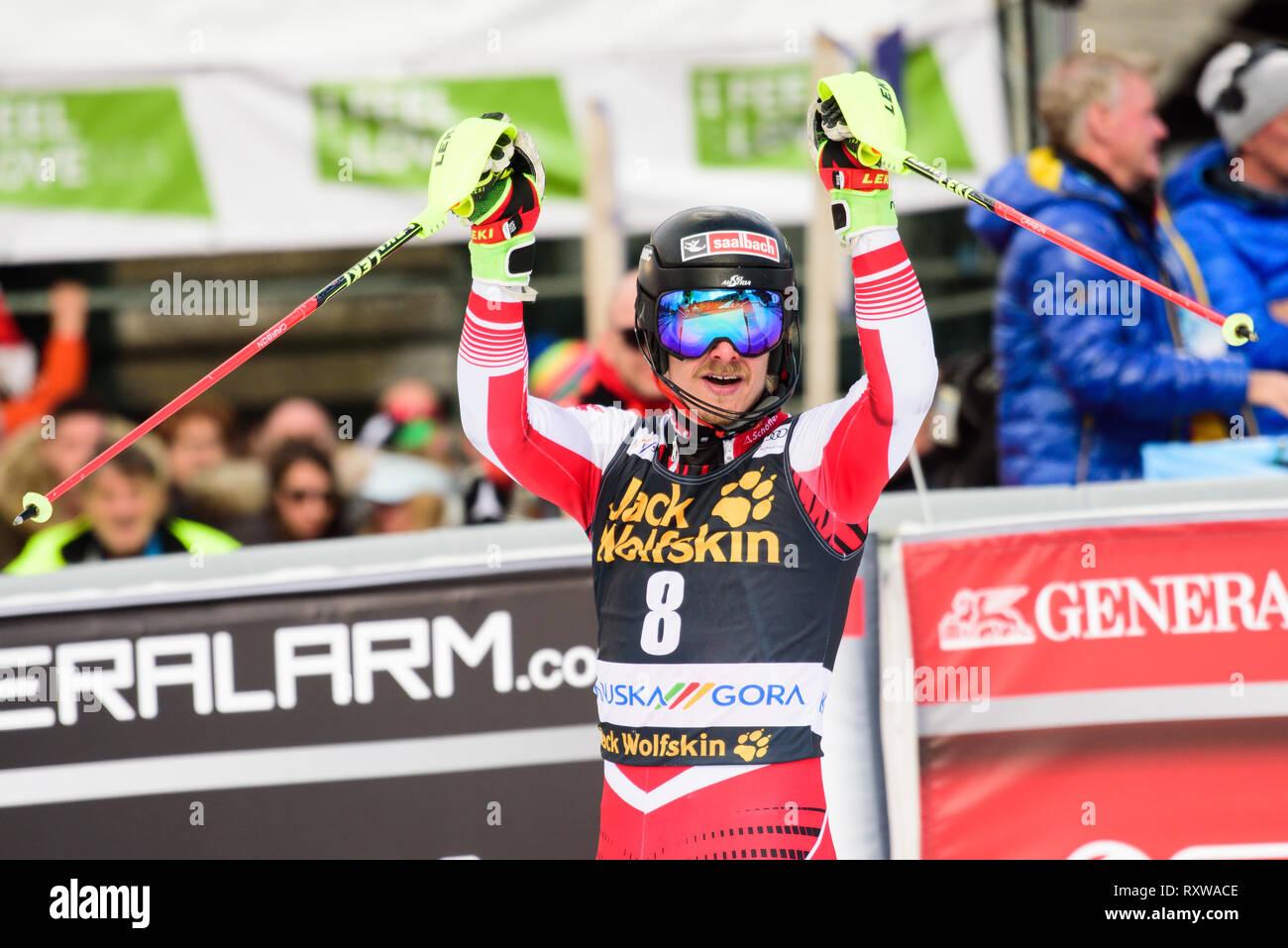 Kranjska Gora Slovenia 10th Mar 2019 Manuel Feller Of Austria In Action During The Slalom Race At The Audi Fis Ski World Cup Vitranc On March 10 2019 In Kranjska Gora Slovenia
