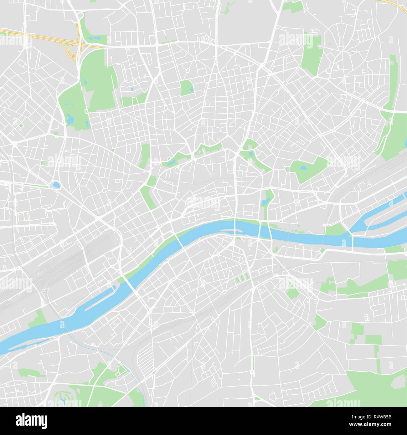 Downtown vector map of Frankfurt, Germany. This printable map of ...