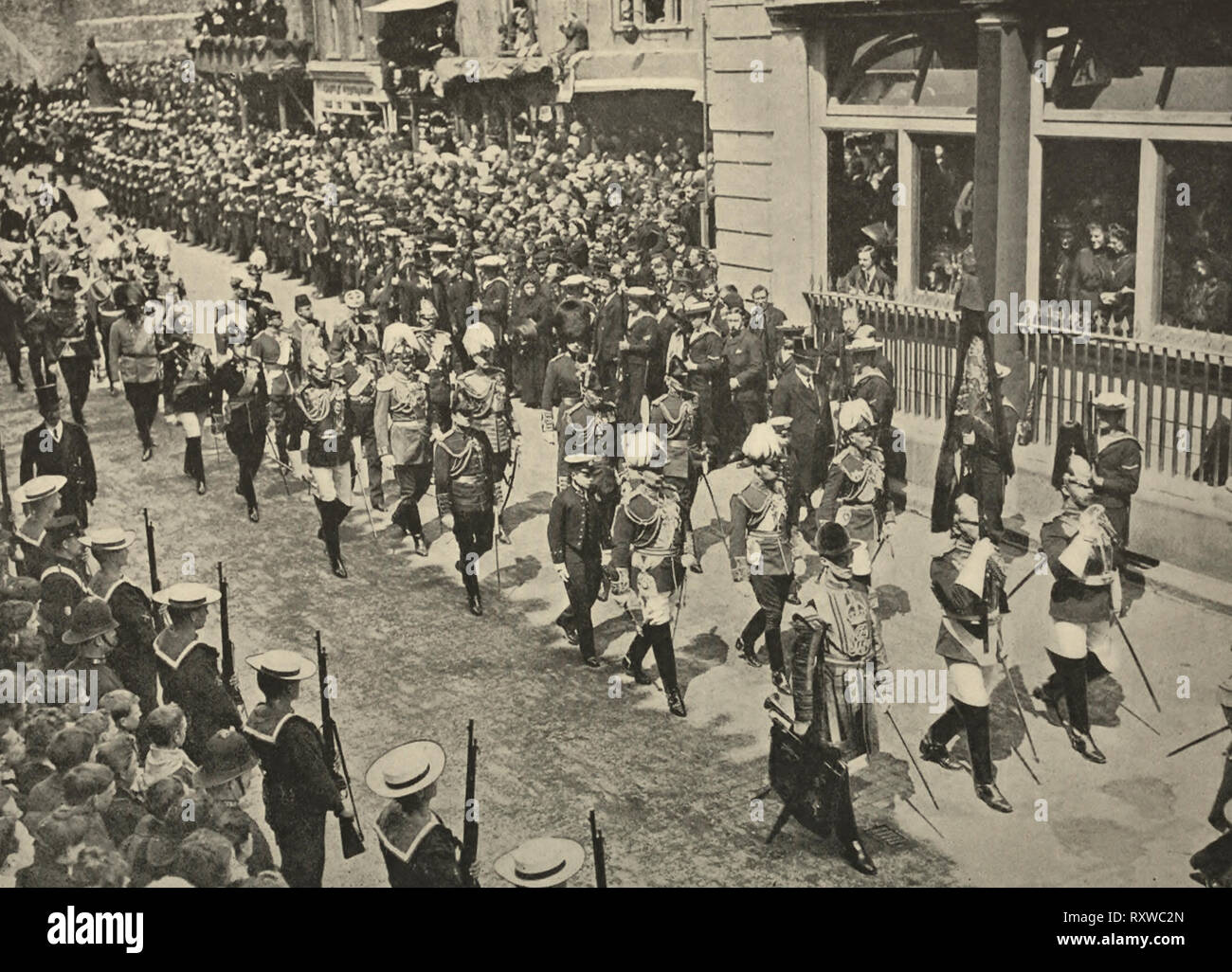 European Kings at the funeral procession of King Edward VII - 1910 - Stock Image