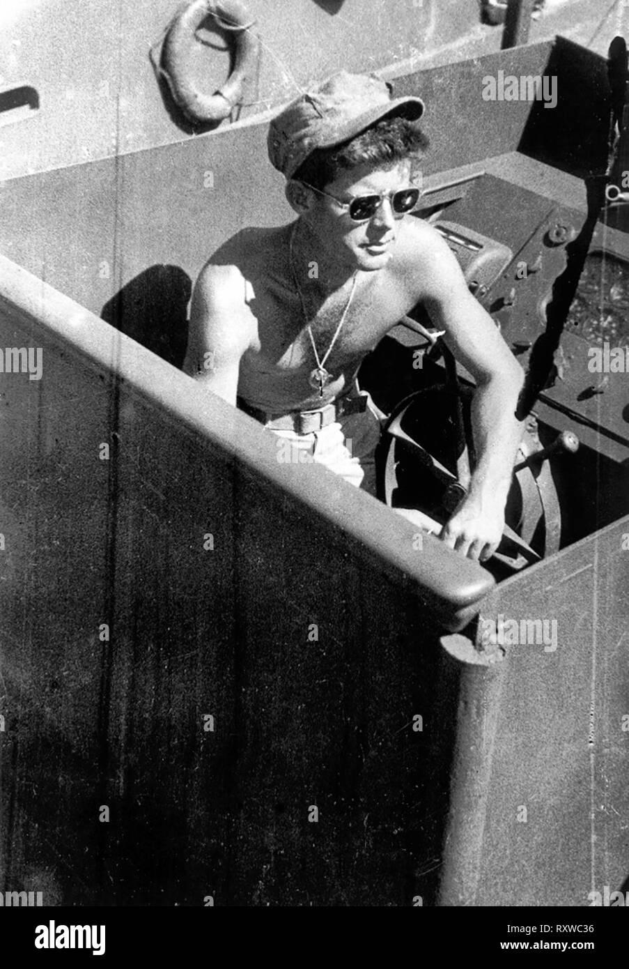 Lt. John F. Kennedy aboard the PT-109, 1943 - Stock Image